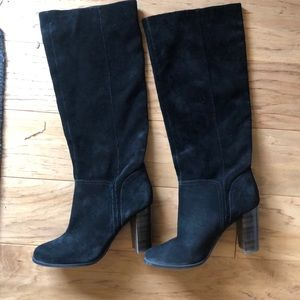 Black suede knee high 3.5 inch boots